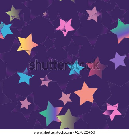 Abstract Seamless Pattern For Boys And Girls Cheerful Dark Purple Background With Colored Stars