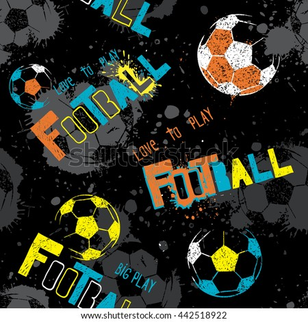 Abstract seamless pattern for boys. Football pattern. Grunge urban pattern with football ball. Sport wallpaper on white background with green elements. Dark grunge background. repeated sport pattern. - stock vector