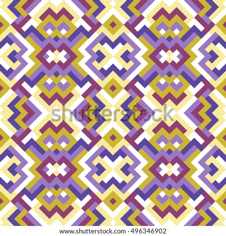 Abstract seamless pattern for design. Vector geometric background of triangles and squares in violet and yellow colors. Texture for textile, clown, carpeting, warp, book cover, clothes
