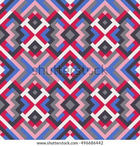 Abstract seamless pattern for design. Vector geometric background of triangles and squares. Texture for textile, clown, carpeting, warp, book cover, clothes in blue and pink colors