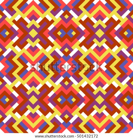 Abstract seamless pattern for design. Vector geometric background of triangles in red, yellow and pink colors. Texture for textile, clown, carpeting, warp, book cover, clothes
