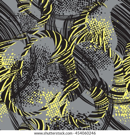 Abstract seamless pattern for girls and boys, sport clothes, fashion chaotic design. Grunge urban modern background in grey, black and yellow colors. Creative modern repeated wallpaper for guys.   - stock vector