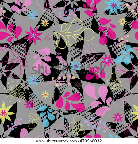 Abstract seamless pattern for girls. Creative vector background with flowers, plants, drops.Funny wallpaper for textile and fabric. Fashion style. Colorful bright picture for children.Blue, Red, pink