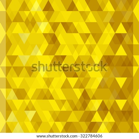 Abstract seamless pattern. Geometric backdrop. Polygonal crystal texture. Triangular texture. Yellow and gold origami banner.  - stock vector