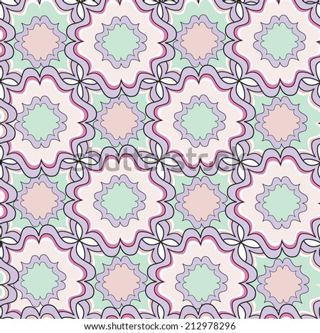 Abstract seamless pattern. Geometric stylish texture. Floral tiles with rhombus. Oriental ethnic ornament. - stock vector