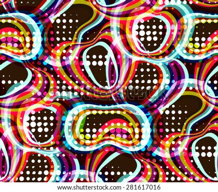 Abstract seamless pattern. Geometrical motifs, bright colors. Retro style 60s - stock vector