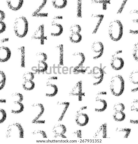 Abstract Seamless Pattern. Grunge Seamless Education Background. Vintage Numbers. Vector illustration.   - stock vector