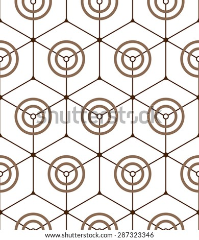 Abstract seamless pattern made from circles and hexagons - stock vector