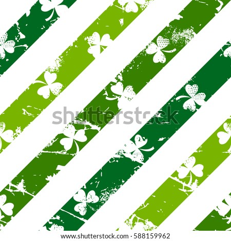 Abstract seamless pattern made from grunge lines with shamrocks