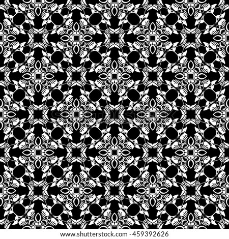 Abstract seamless pattern of black and white color for wallpapers and background.
