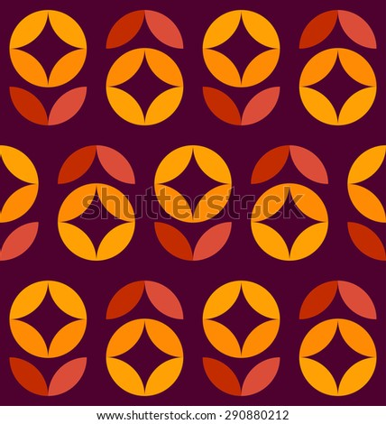 Abstract seamless pattern of colorful geometric flowers - stock vector