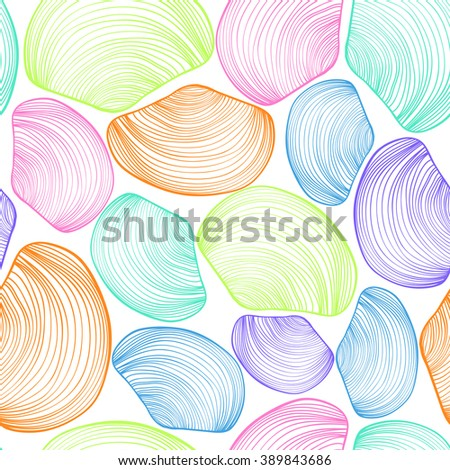 Abstract seamless pattern of colorful seashells. Marine seashell background.