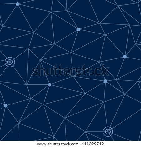 Abstract seamless pattern of cosmic space with styled net of paths and stars or way points at some nodes, eps10 vector illustration - stock vector