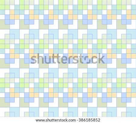 Abstract seamless pattern of squares, lines and angles. Vector illustration.