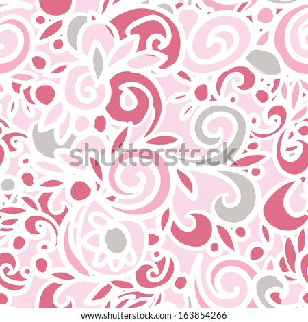 Abstract seamless pattern, vector doodle illustration hand drawn, cute pink color