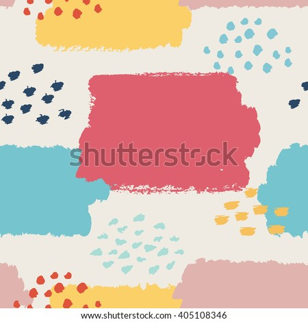 Abstract seamless pattern. Vector illustration for cute fashion design. Pretty retro style. Pale pastel colors. Stylish greeting decoration paint background. Decorative fabric cover trendy texture