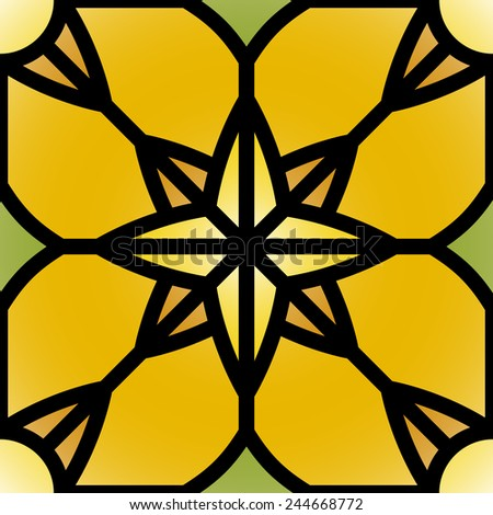 Abstract seamless pattern. Vector illustration in stained glass window style - stock vector