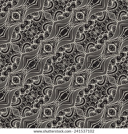 Abstract seamless pattern, vector lace texture - stock vector