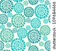 Abstract seamless pattern with blue circle elements. Ethnic summer texture - stock photo