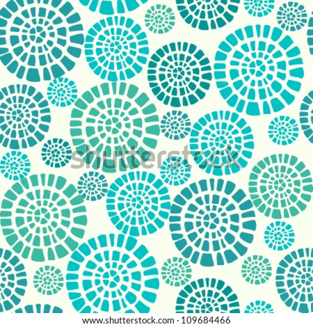 Abstract seamless pattern with blue circle elements. Ethnic summer texture - stock vector