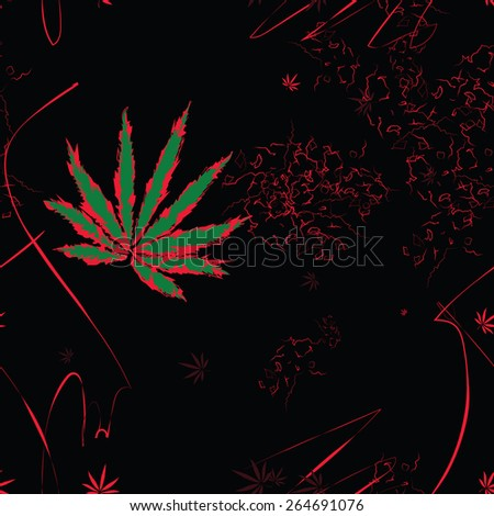 Abstract seamless pattern with cannabis leaves and scratches  - stock vector