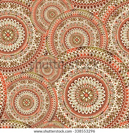 Abstract seamless pattern with circular ornament Swirl geometric oriental doodle texture. Engrave background. - stock vector