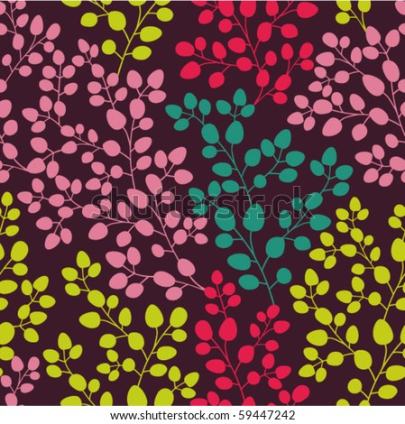 Abstract seamless pattern with colored branches - stock vector