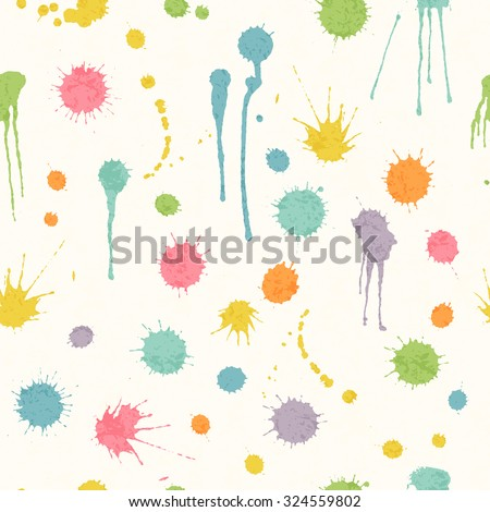 Abstract seamless pattern with colorful ink stains on a white background. Happy childish backdrop for wrapping, packaging, textile and interior decoration - stock vector