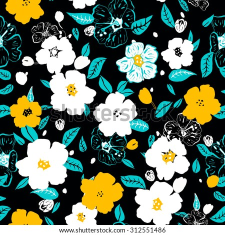Abstract seamless pattern with colorful isolated flowers. Vector illustration. - stock vector