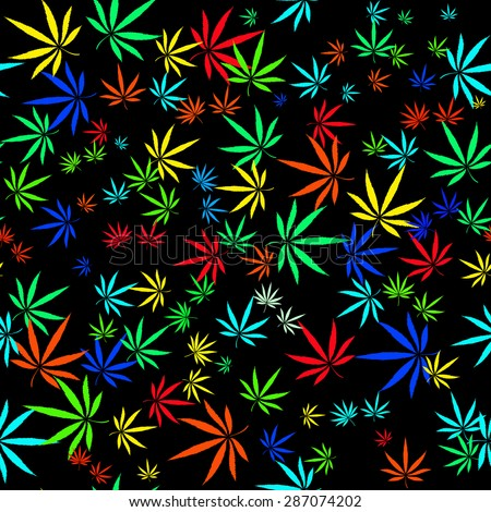 Abstract seamless pattern with colorful Marijuana leaves - stock vector