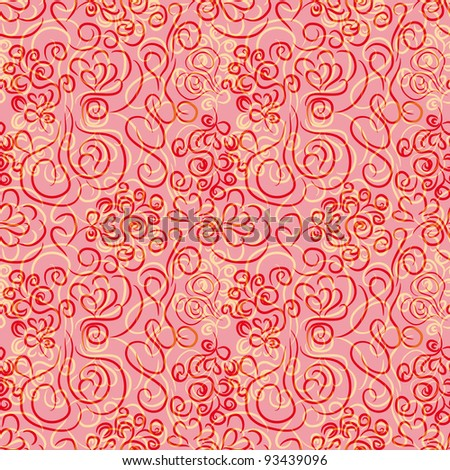 abstract seamless pattern with floral curl branches