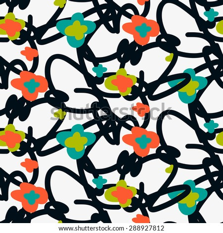 Abstract seamless pattern with flowers. Modern stylish texture. Vector illustration. - stock vector