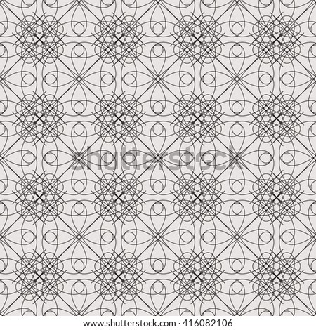 Abstract seamless pattern with geometric and floral ornaments. Seamless background. - stock vector