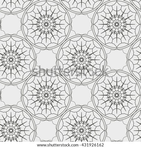 Abstract seamless pattern with geometric floral ornaments. Seamless background. - stock vector