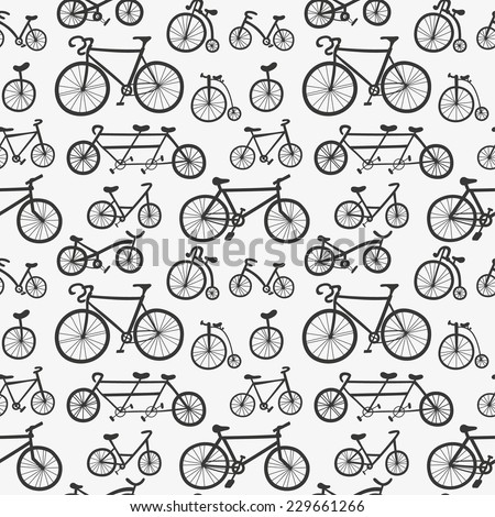 Abstract seamless pattern with hand drawn bicycles. Monochrome bikes ornament. Cute black and white bicycles background  - stock vector