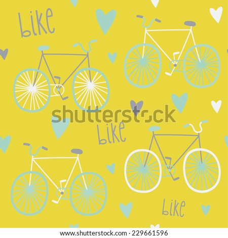 Abstract seamless pattern with hand drawn bicycles. Multicolored bikes ornament. Cute bicycles background  - stock vector