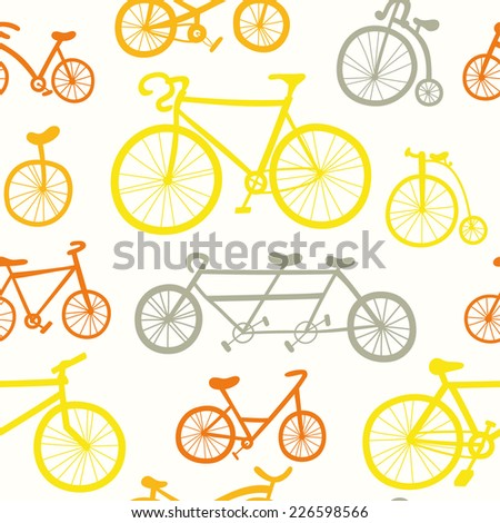 Abstract seamless pattern with hand drawn bicycles. Multicolored bikes ornament in yellow and red color