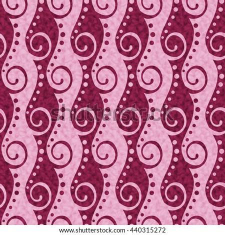 Abstract seamless pattern with pink ornament of swirls and dots
