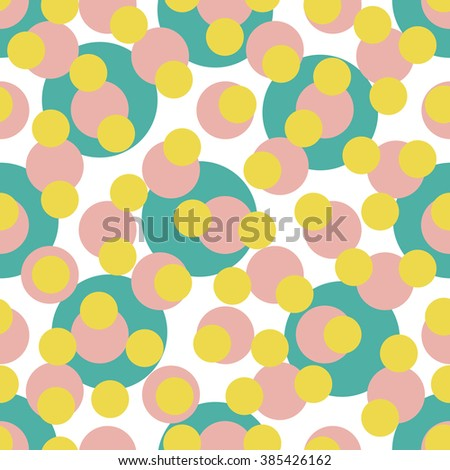 Abstract seamless pattern with randomly bright colored overlapping circles, dots. Abstract background with little circles. Vector illustration. - stock vector
