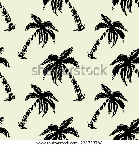 Abstract seamless pattern with silhouettes tropical coconut palm trees. Forest, jungle repeated background. Nature print texture. Cloth design. Wallpaper