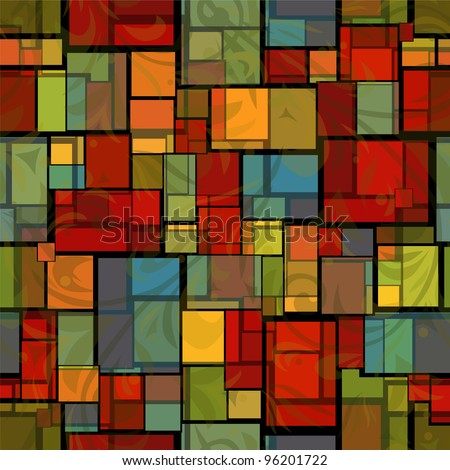 abstract seamless pattern with stained glass imitation - stock vector