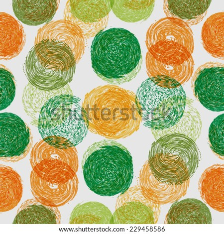 Abstract Seamless Pattern with Textured Circles - stock vector