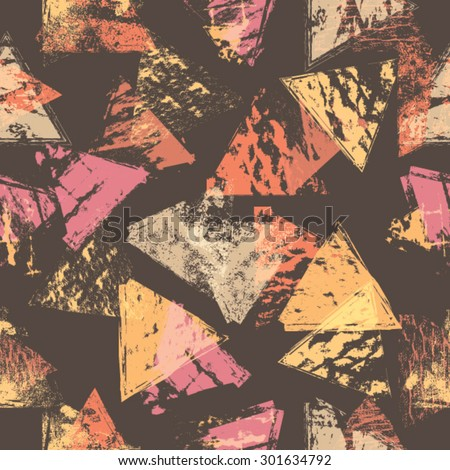 Abstract Seamless Pattern with Textured Geometric Triangle Shapes. Vector Background.  - stock vector