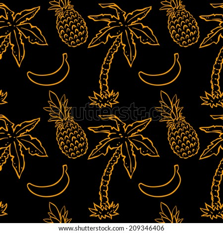 Abstract seamless pattern with tropical coconut palm trees, pineapples and bananas in black and gold. Endless print background texture. Fabric design. Wallpaper - vector  - stock vector