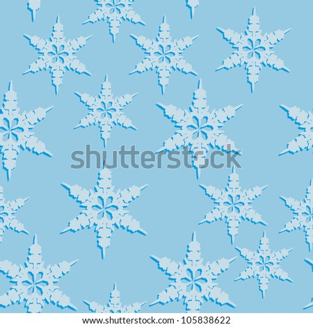 abstract seamless pattern with winter snowflakes. Vector illustration - stock vector