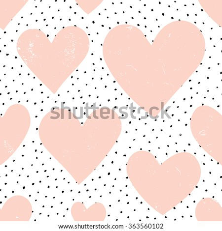 Abstract seamless repeat pattern with hearts and dots in pastel pink,black and white. Modern and stylish romantic design poster, wrapping paper, Valentine card design. - stock vector