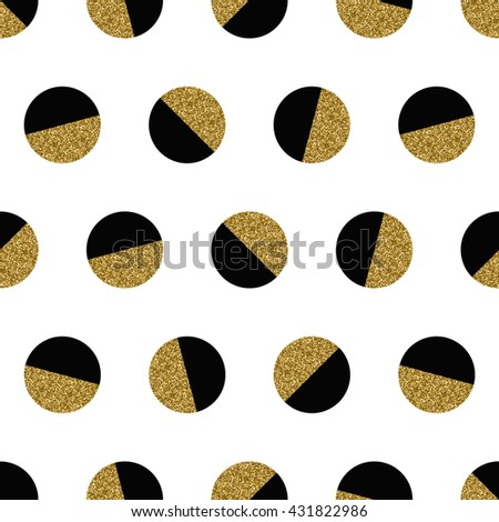 Abstract seamless repeating pattern with geometric shapes in gold glitter and black on white background. - stock vector
