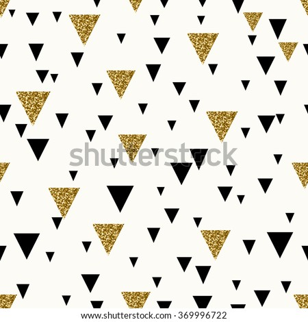 Abstract seamless repeating pattern with triangles in gold glitter and black on cream background. - stock vector