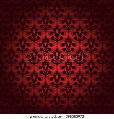 Abstract seamless retro pattern background. Delicate darkened at the edges and in the center of the clarified retro shaped regular floral elements in horizontal rows on red background seamless pattern