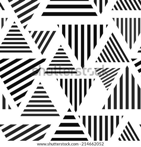 Abstract seamless, simple, striped geometric triangle background. Vector illustration